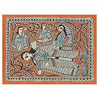 Madhubani painting, 'The Resting Place' - Ramayana Theme Signed India Madhubani Folk Art Painting