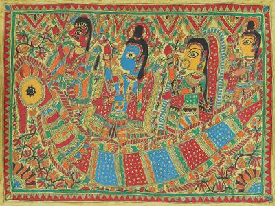 Authentic India Madhubani Painting from the Ramayana