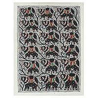 Madhubani painting, 'The Herd' - Signed Madhubani Folk Art Painting of Royal Elephants