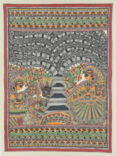 Signed Madhubani Folk Art Painting of Radha and Krishna