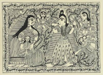Flower Border Hindu Theme Madhubani Folk Art Painting