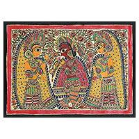 Madhubani painting, 'Euphoria' - Authentic Signed Madhubani Folk Art Painting of Krishna