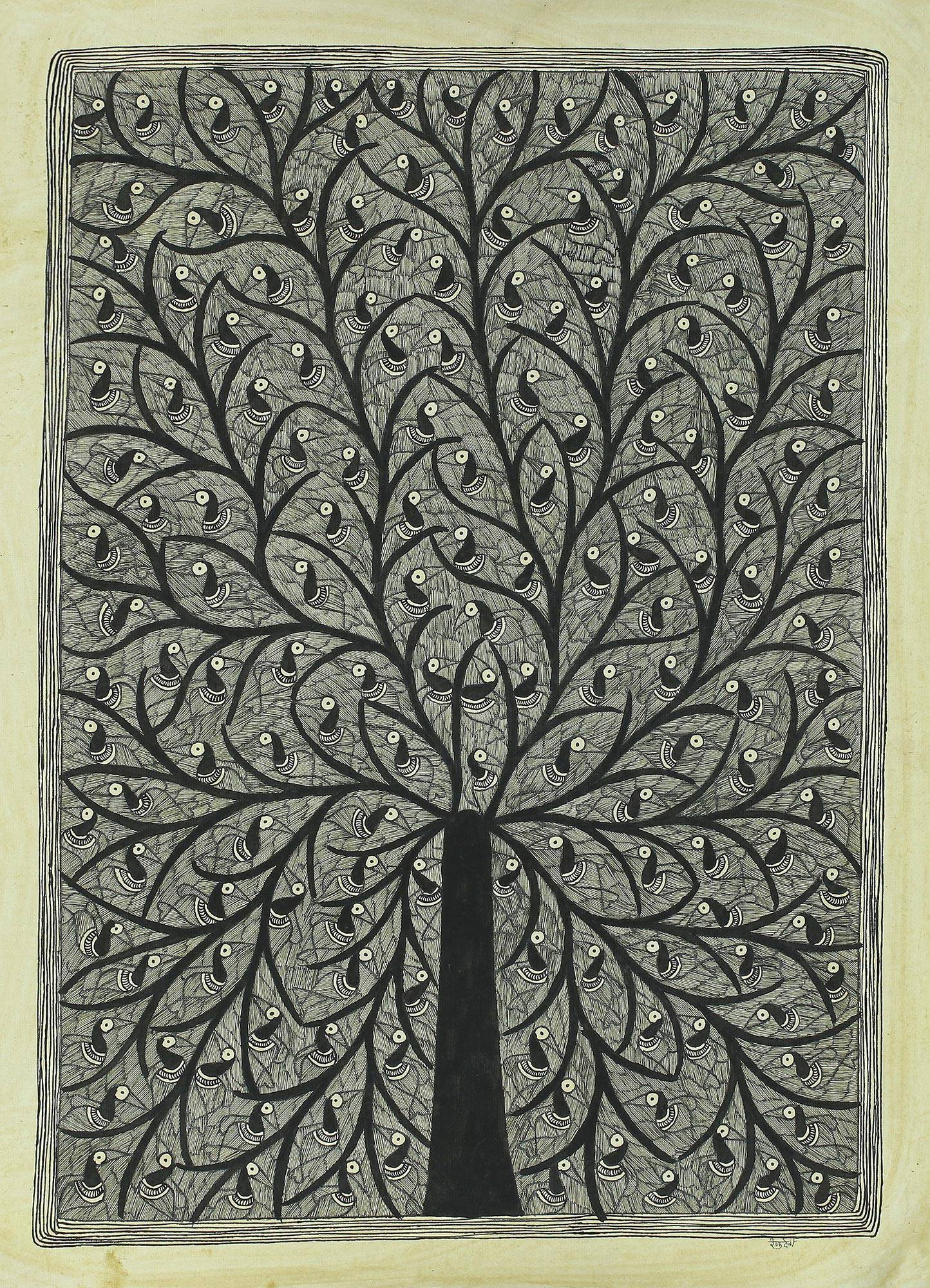 Black And White Madhubani Painting Of The Tree Of Life Birds In The Tree Of Life