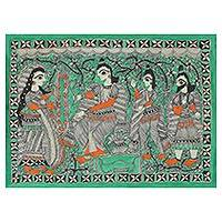 Madhubani painting, 'Wedding Celebrations' - Signed Freehand Madhubani Painting of Rama and Sita
