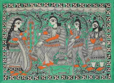 Signed Freehand Madhubani Painting of Rama and Sita