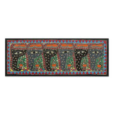 Madhubani Folk Art Painting of Six Floral Elephants