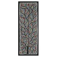 Madhubani painting, 'Birds in the Tree of Life II' - Signed Madhubani Folk Art Painting of Birds in a Tree