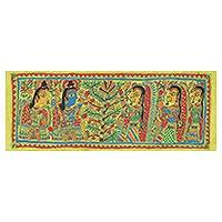 Madhubani painting, 'Krishna and the Tree of Life' - Krishna and the Tree of Life Authentic Madhubani Painting