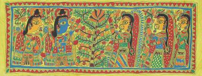 Krishna and the Tree of Life Authentic Madhubani Painting