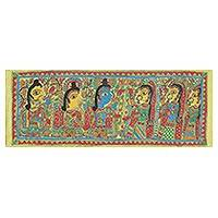 Madhubani painting, 'Sita and Ram Marriage' - Madhubani Folk Art Painting of Rama and Sita's Marriage