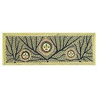 Madhubani painting, 'Mithila Rising Sun' - Signed Indian Madhubani Folk Art Painting of the Sun