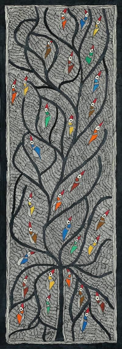 Madhubani painting, 'Mithila Tree of Life' - Madhubani Painting of Birds in the Tree of Life