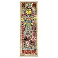 Madhubani painting, 'The Goddess of Prosperity' - Hindu Goddess Theme Madhubani Painting of Lakshmi