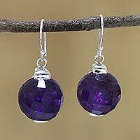Amethyst dangle earrings, 'Dazzling Orbs' - Sterling Silver Amethyst Orb Dangle Earrings from India
