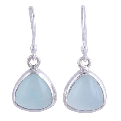 Sterling Silver and Aqua Chalcedony Dangle Earrings