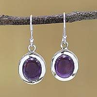 Amethyst dangle earrings, 'Haloed Purple' - Amethyst and Sterling Silver Dangle Earrings from India