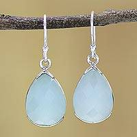 Chalcedony dangle earrings, 'Aqua Drops' - Aqua Chalcedony and Sterling Silver Dangle Earrings