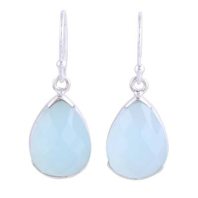 Aqua Chalcedony and Sterling Silver Dangle Earrings