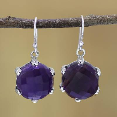 Amethyst dangle earrings, 'Dazzling Purple' - Amethyst and Sterling Silver Dangle Earrings from India
