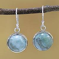 Larimar dangle earrings, 'Neptune' - Sterling Silver and Larimar Dangle Earrings from India