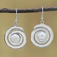 Cultured pearl dangle earrings, 'White Swirling Beauty' - Sterling Silver Cultured Pearl Dangle Earrings from India