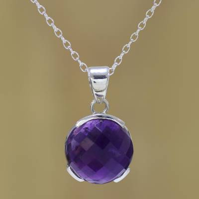 Amethyst Pendant Necklace Dazzling Purple Amethyst And Sterling Silver Pendant Necklace From