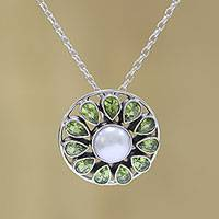 Peridot and cultured pearl pendant necklace, 'Peridot Petals' - Peridot and Cultured Pearl Sterling Silver Pendant Necklace