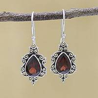 Garnet dangle earrings, 'Red Intricacy' - Sterling Silver and Garnet Dangle Earrings from India