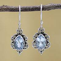 Blue topaz dangle earrings, 'Blue Intricacy' - Sterling Silver and Blue Topaz Dangle Earrings from India
