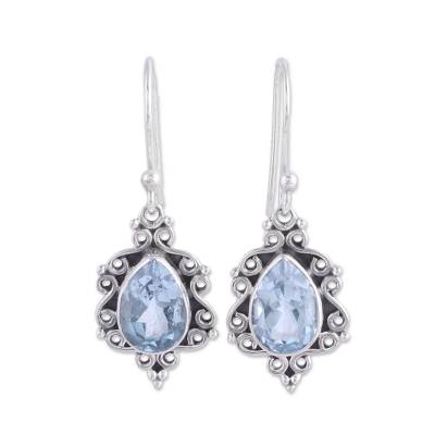 Sterling Silver and Blue Topaz Dangle Earrings from India