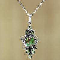 Peridot pendant necklace, 'Glittering Green' - Peridot and Composite Turquoise Pendant Necklace from India