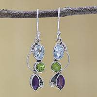 Multi-gemstone dangle earrings, 'Shimmering Alliance' - Blue Topaz Peridot Amethyst Sterling Silver Dangle Earrings