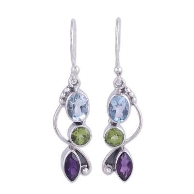 Blue Topaz Peridot Amethyst Sterling Silver Dangle Earrings