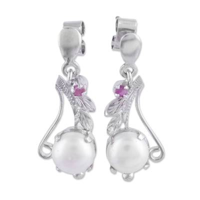 Rhodium Plated Cultured Pearl and Ruby Earrings form India