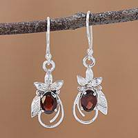 Rhodium plated garnet dangle earrings, 'Red Buds' - Rhodium Plated Leafy Garnet Dangle Earrings from India