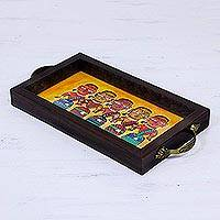 Glass tray, 'Bengali Women in Yellow' - Bengali Women Painting on Yellow Serving Tray