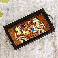 Glass tray, 'Bengali Men in Brown' - Bengali Drummer Painting on Brown Serving Tray