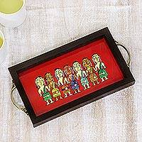 Glass tray, 'Bengali Women in Red' - Bengali Women Painting on Red Serving Tray