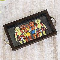 Glass tray, 'Bengali Men in Grey' - Bengali Drummers Painting on Grey Serving Tray