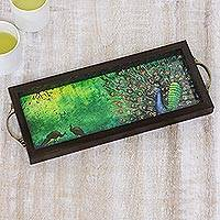 Glass tray, 'Alluring Peacock' - Green Peacock Painting on a Serving Tray from India