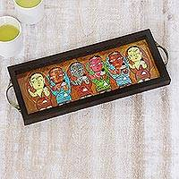 Glass tray, 'Bengali Mothers' - Bengali Mothers Painting on Brown Serving Tray