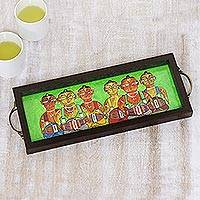 Glass tray, 'Bengali Men in Green' - Bengali Drummer Painting on Green Serving Tray