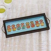 Glass tray, 'Eight Bengali Dancers' - Bengali Dancers Painting on Blue Serving Tray