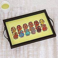 Glass tray, 'Bengali Welcome' - Bengali Welcome Painting Yellow Decorative Tray
