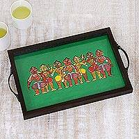 Glass tray, 'Bengali Celebrations' - Bengali Festival Painting Green Tray