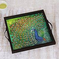 Glass tray, 'Peacock Visage' - Peacock Painting on Serving Tray from India