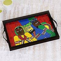 Glass decorative tray, 'Rajasthani Lady' - Cotton and Glass Serving Tray with Indian Cultural Painting