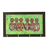 Cotton and glass key rack, 'Musical Alliance' - Cotton and Glass Key Rack with Cultural Painting from India