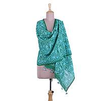 Cotton shawl, 'Emerald Bamboo Field' - Bamboo Motif Cotton Shawl in Emerald and Cerulean from India