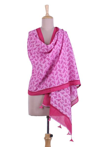 Cotton shawl, 'Field of Parrots' - Printed Parrot Motif Cotton Shawl in Pink from India